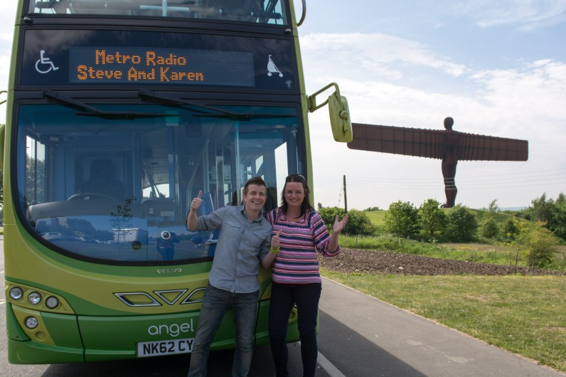 Go North East Angel Bus with Steve and Karen
